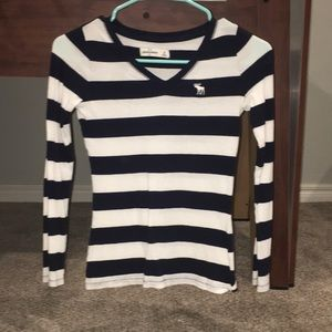 Tops - Abercrombie navy and white long sleeve shirt